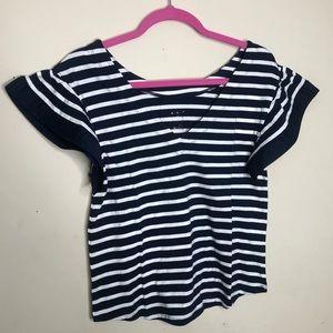 A new day S Blue Stripe Print Ruffle Sleeve Top